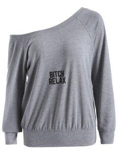 Une épaule Lettre Sweatshirt - Gris M