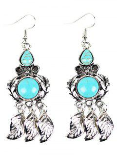Bohemian Faux Turquoise Owl Chandelier Earrings - Silver