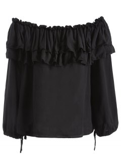 Flounce Ruffles Off The Blouse épaule - Noir Xl