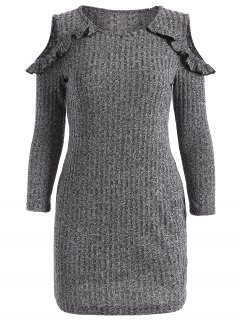 Cold Shoulder Bodycon Sweater Dress - Gray S