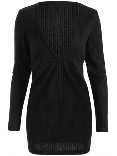 Long Sleeve Bodycon Plunge Dress - Black L