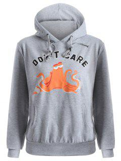 Front Pocket Drawstring Cartoon Hoodie - Gray L