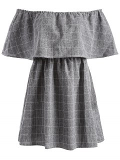 Checked Off The Shoulder Ruffles Dress - Gray L