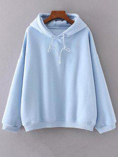 Drawstring Fleeced Sweat à Capuche - Bleu Clair