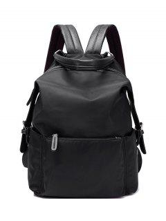 Double Buckle Splicing Zippers Backpack - Black