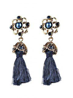 Vintage Tassel Rhinestone Drop Earrings - Blue
