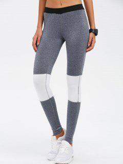 Color Block Skinny Yoga Leggings - Gray S