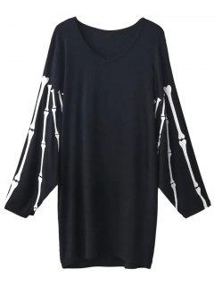 V Neck Batwing Sleeve Skeleton Dress - Black M