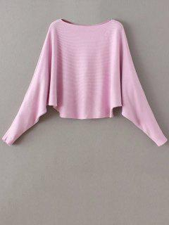 Slash Neck Dolman Sleeve Sweater - Pink