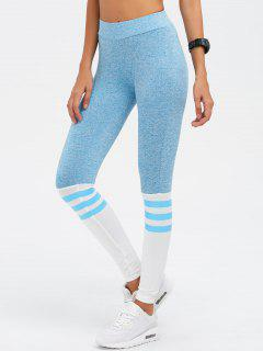 High Waist Skinny Yoga Leggings - Azure S