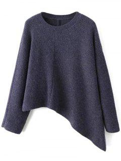 Asymmetric Jewel Neck Sweater - Blue Violet