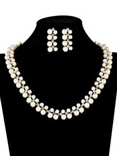 Fake Pearl Wedding Jewelry Set - White