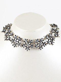Rhinestoned Snowflake Collier Choker - Argent