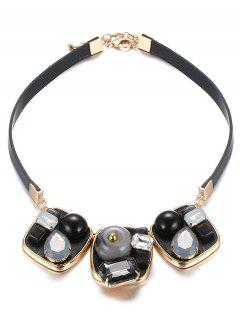 Faux Gem Square Choker - Black