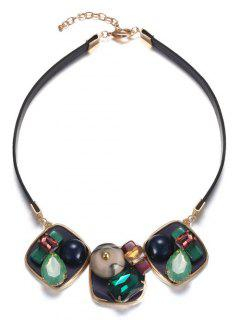 Faux Gem Square Choker - Green