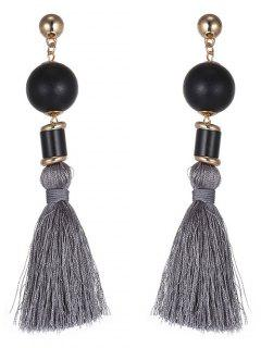 Beaded Fringed Earrings - Deep Gray