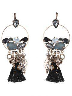 Hollowed Leaf Tassel Earrings - Black
