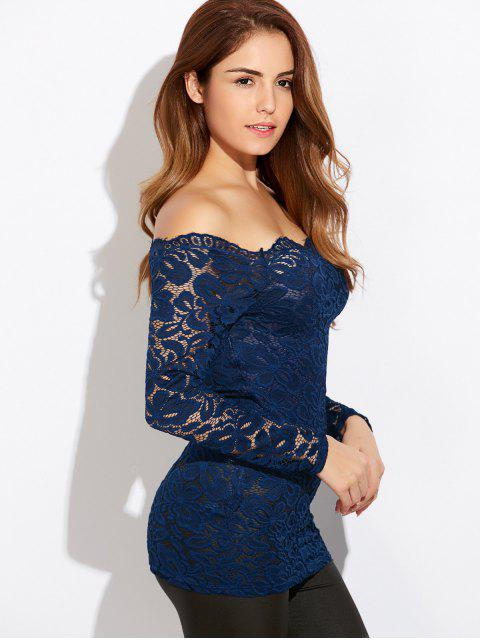 sale Fitting Off The Shoulder Lace Blouse - BLUE XL Mobile