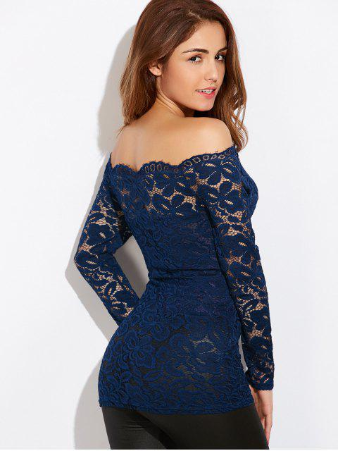 buy Fitting Off The Shoulder Lace Blouse - BLUE M Mobile