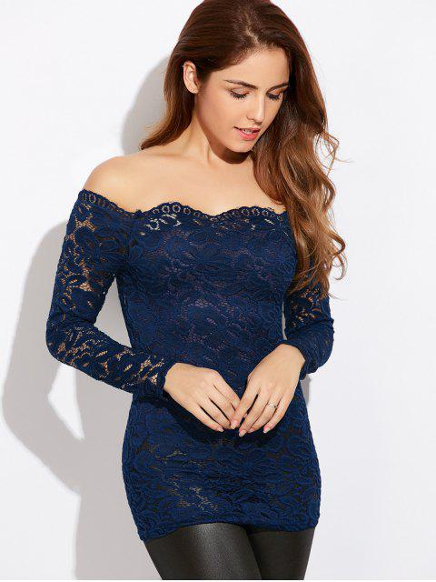 womens Fitting Off The Shoulder Lace Blouse - BLUE S Mobile