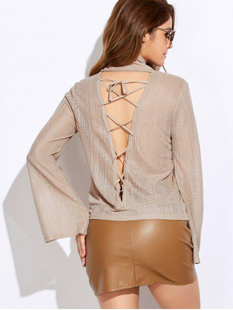 lady Back Cut Out Lace Up Turtle Neck Knitwear - OFF-WHITE XL Mobile