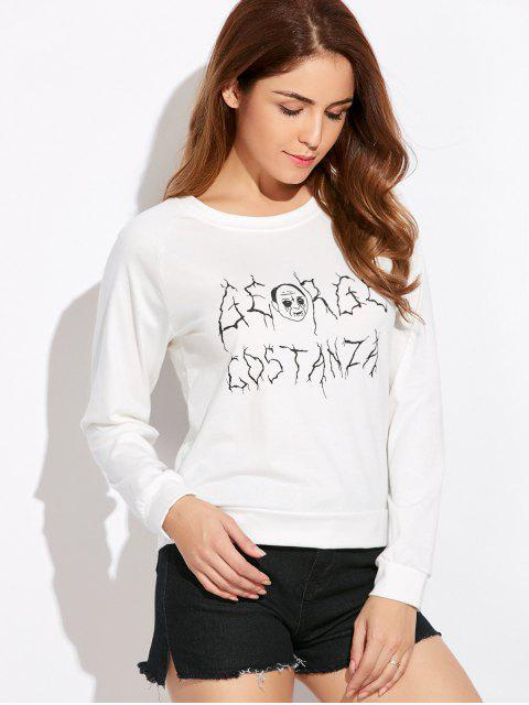 shops Funny Print Sweatshirt - WHITE S Mobile