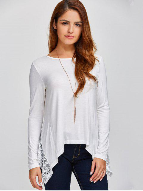 Dentelle Spliced ​​Retour Cutout T-shirt - Blanc XL Mobile
