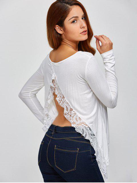 hot Lace Spliced Back Cutout T-Shirt - WHITE XL Mobile