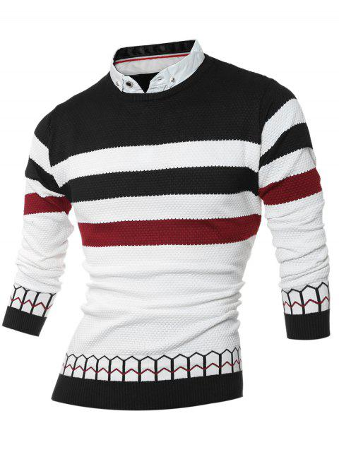 hot Faux Twinset Shirt Collar Color Block Stripe Spliced Knitting Sweater - BLACK L Mobile