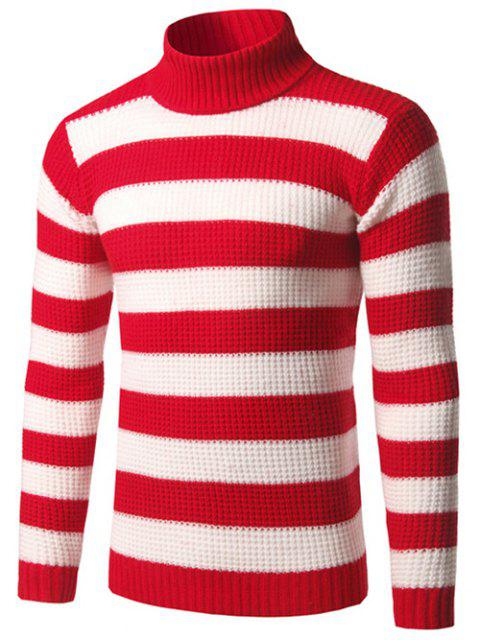 Cuello alto suéter de rayas textura - Rojo M Mobile