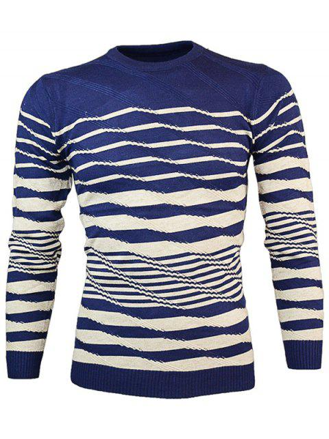 women's Crew Neck Wave Stripe Pullover Knitwear - CADETBLUE M Mobile