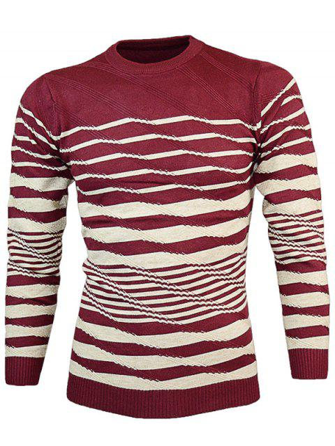 ladies Crew Neck Wave Stripe Pullover Knitwear - WINE RED XL Mobile