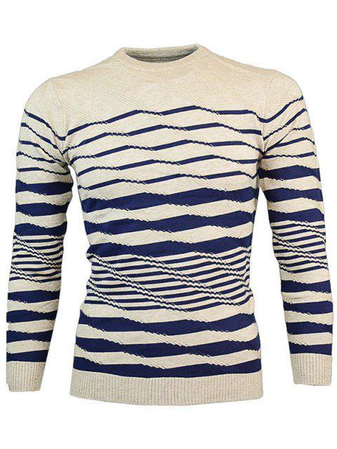 best Crew Neck Wave Stripe Pullover Knitwear - KHAKI M Mobile