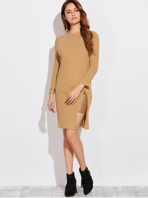Langarm Kleid mit hohem Schlitz - Khaki M Mobile