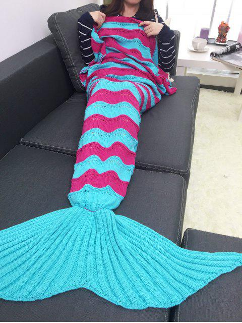 Verdicken Multicolor-Streifen Gestrickte Mermaid Schwanz Blanket - windsor blau   Mobile
