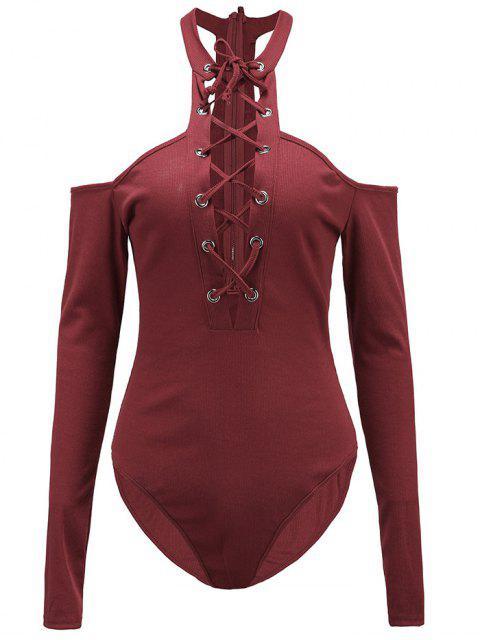 unique Long Sleeves Lace Up Cold Shoulder Bodysuit - BURGUNDY M Mobile