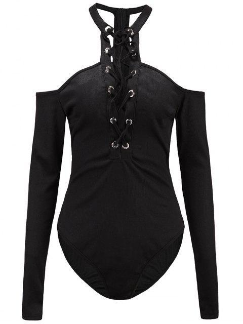 affordable Long Sleeves Lace Up Cold Shoulder Bodysuit - BLACK XL Mobile