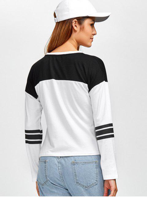 online Boyfriend Graphic Color Block T-Shirt - WHITE S Mobile