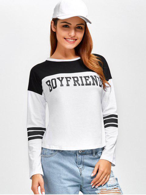 lady Boyfriend Graphic Color Block T-Shirt - WHITE L Mobile