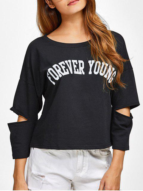 affordable Cut Out Forever Young Tee - BLACK XL Mobile