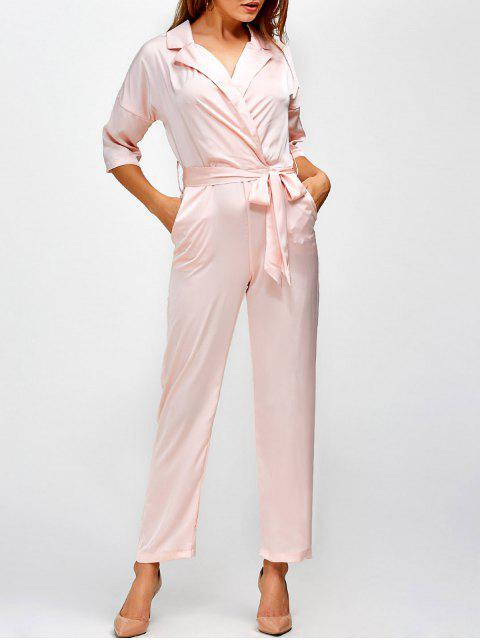 buy Plunging Neck Wrap Jumpsuit - SHALLOW PINK S Mobile