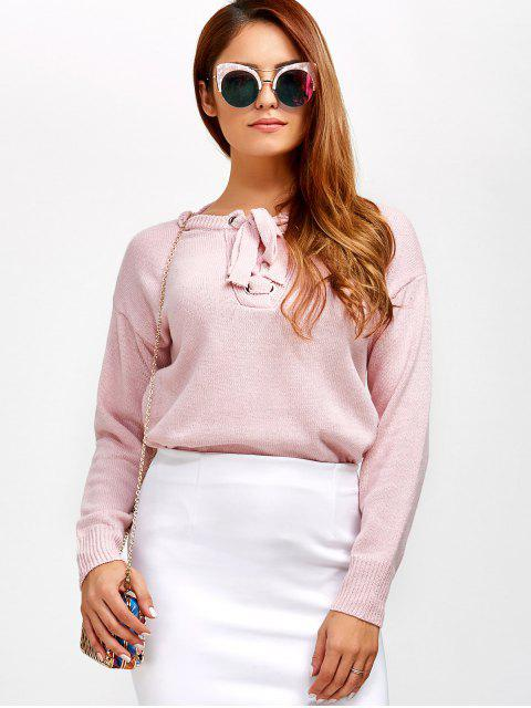 women's Leisure Lace-Up Sweater - LIGHT PINK ONE SIZE Mobile