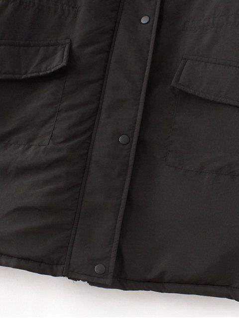 lady Padded Embroidered Parka Coat - BLACK XL Mobile