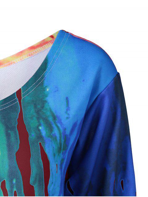 hot Skew Collar Dripping Paint Sweatshirt - RED 4XL Mobile
