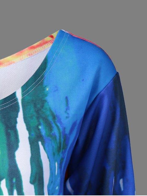 trendy Skew Collar Dripping Paint Sweatshirt - WHITE 2XL Mobile