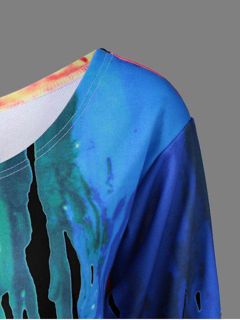 chic Skew Collar Dripping Paint Sweatshirt - BLACK 4XL Mobile