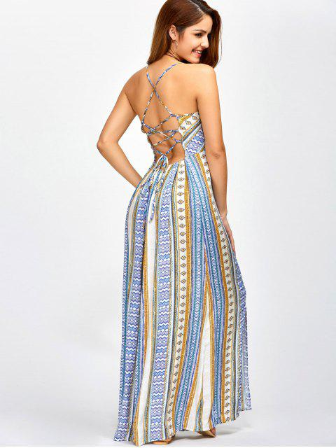 affordable Sweetheart Cami Maxi Bohemian Dress - BLUE L Mobile