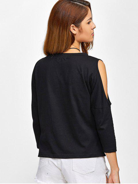 women Cold Shoulder Graphic Side Slit T-Shirt - BLACK M Mobile
