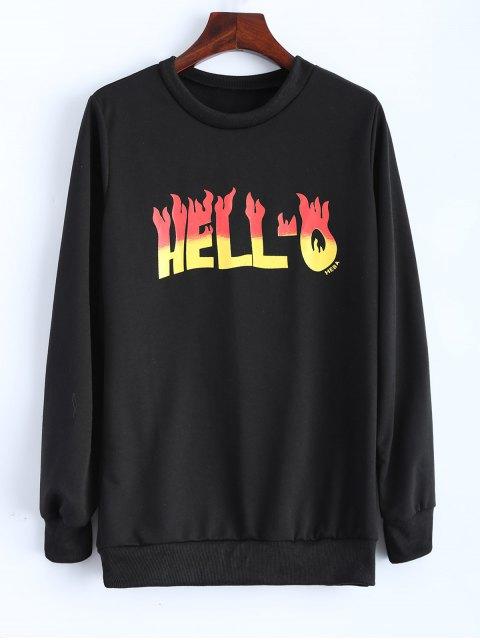 womens Graphic Hello Fleeced Sweatshirt - BLACK M Mobile