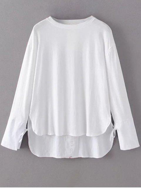 ladies Tie Sleeve High Low Hem Tee - WHITE L Mobile